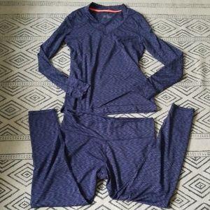 Cuddl duds flex fit pajama set blue medium